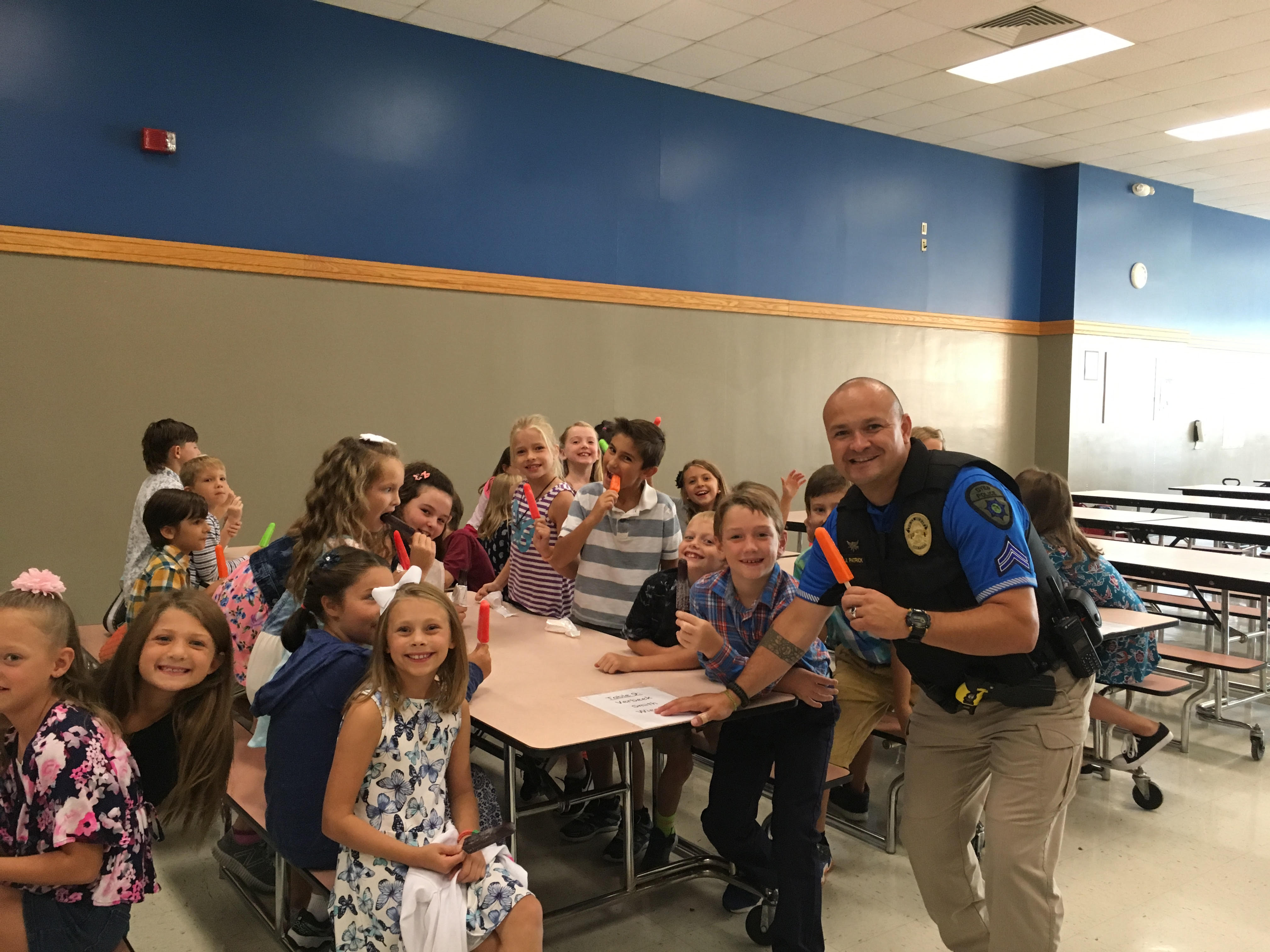 Officer Patrick celebrated his birthday with 3rd grade students at Kolling Elementary School!