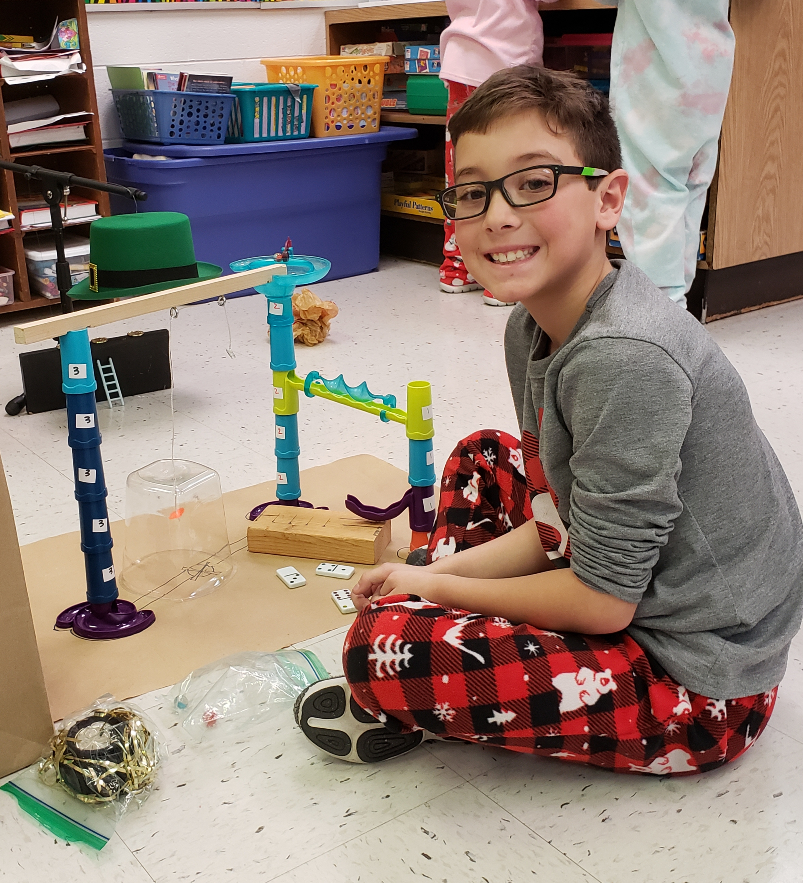 Engineers from Mrs. Pugh's 2nd grade class build and test leprechaun traps before St. Patrick's Day.
