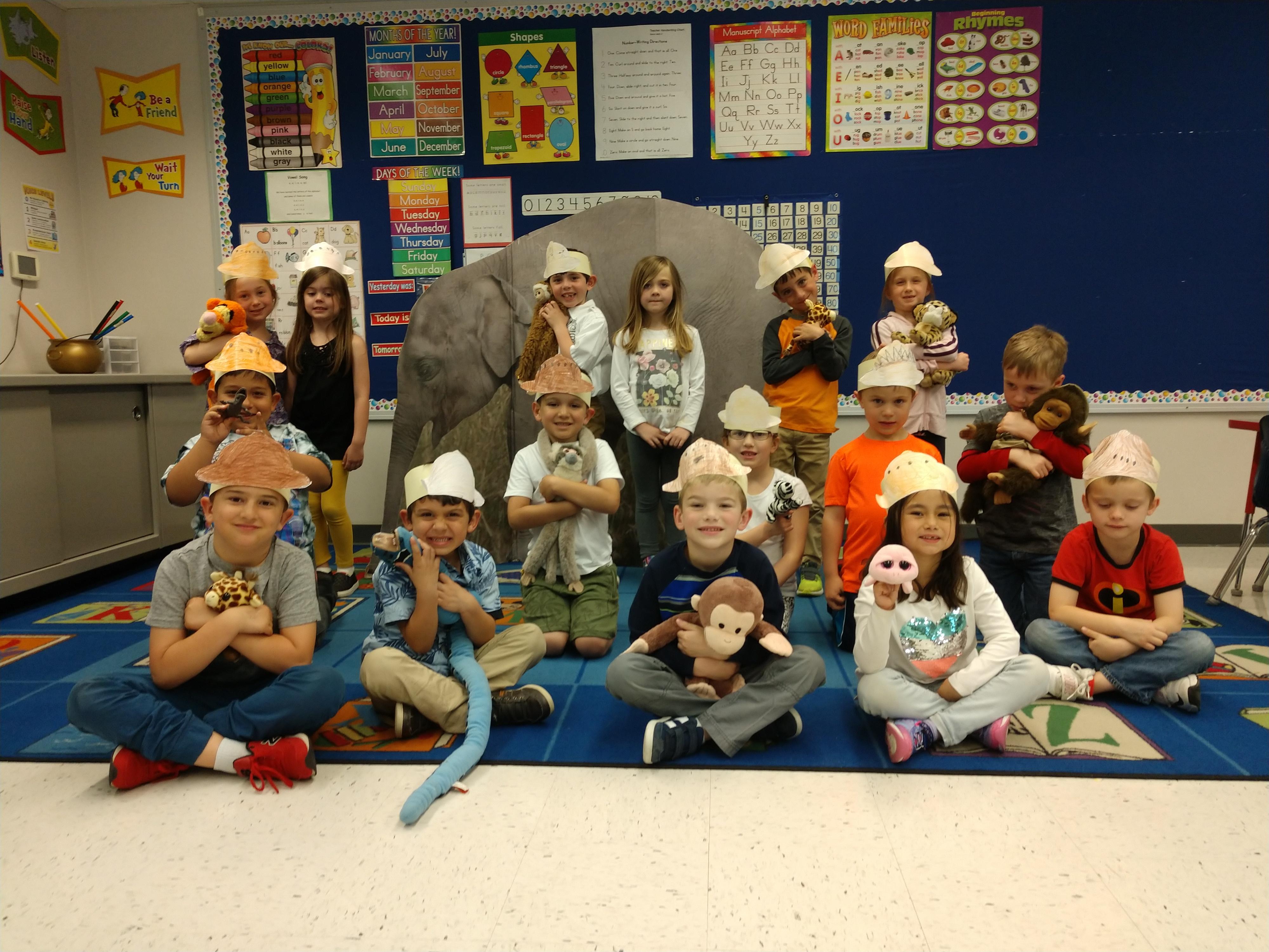 Mrs. Henson's kindergarten class celebrates Safari Day.